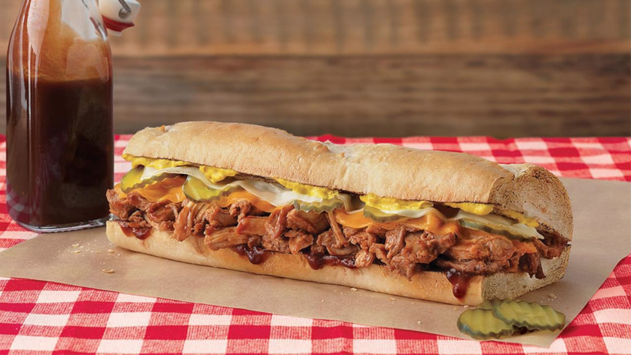 Quiznos Sub Sandwich Barbecue Pulled Pork