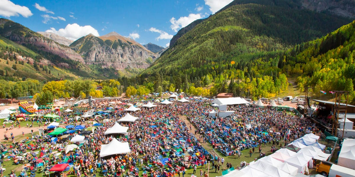 Telluride Blues and Brews Festival Aerial View Vendors Crowd