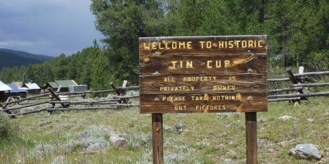 Tincup Colorado Welcome Sign