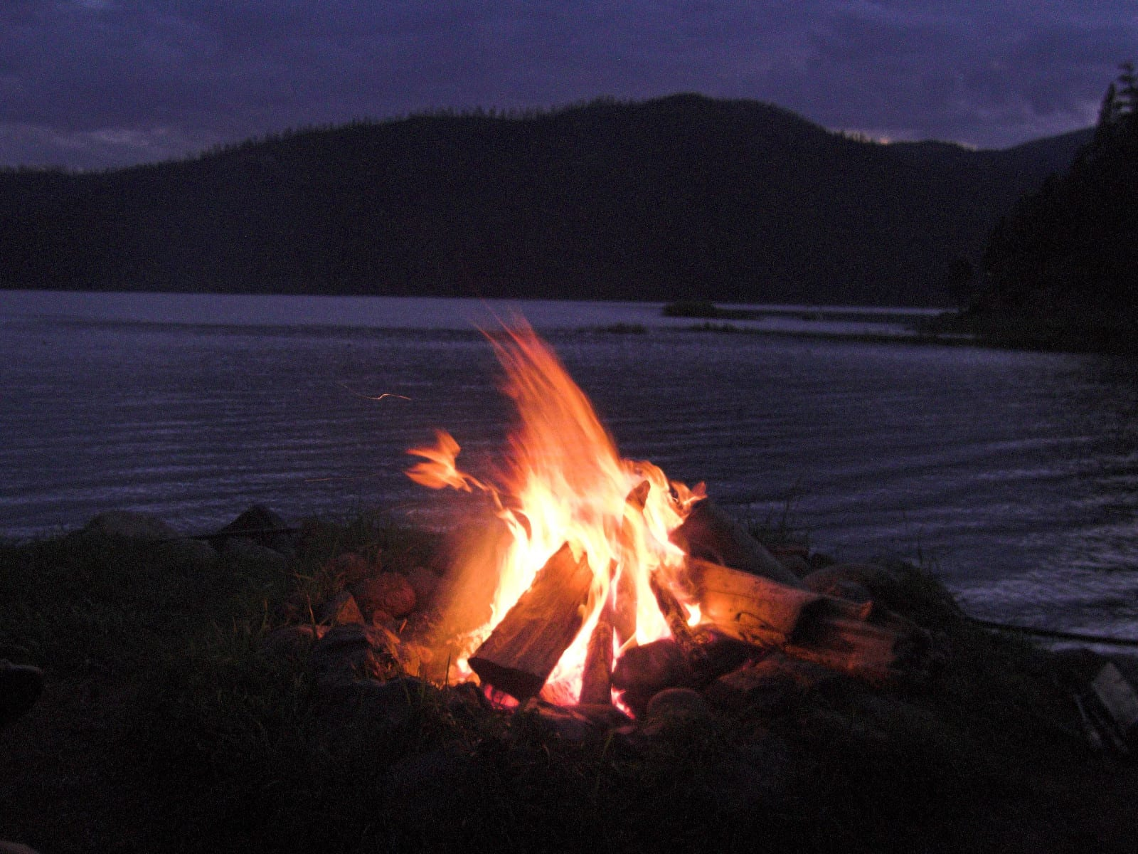 Vallecito Lake Campfire on Shore Bayfield Colorado