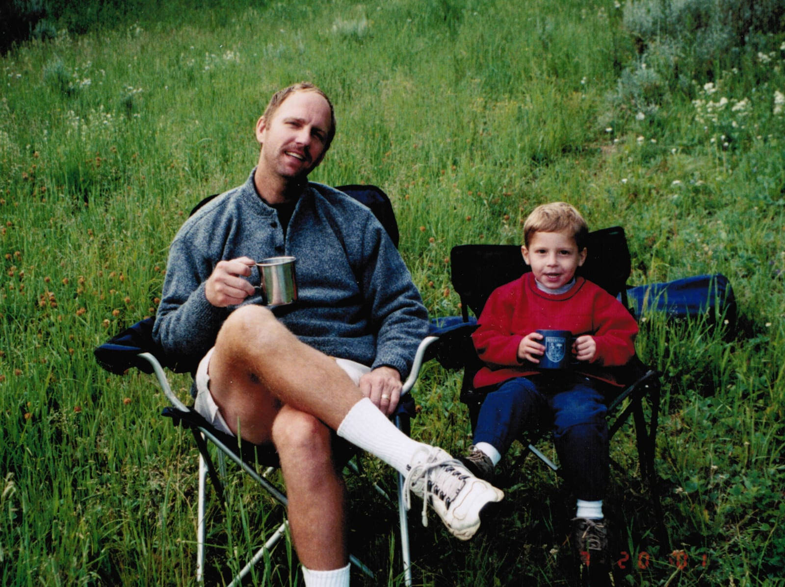 Camping Kids Checklist Dad Son Chairs Coffee Cocoa
