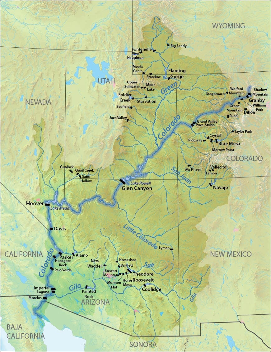 Colorado River Dams Map