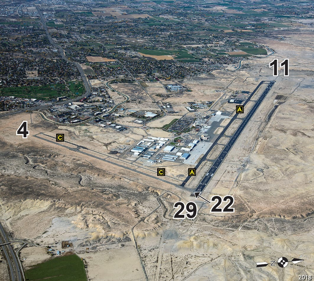 Grand Junction Regional Airport Runway Terminal Aerial View