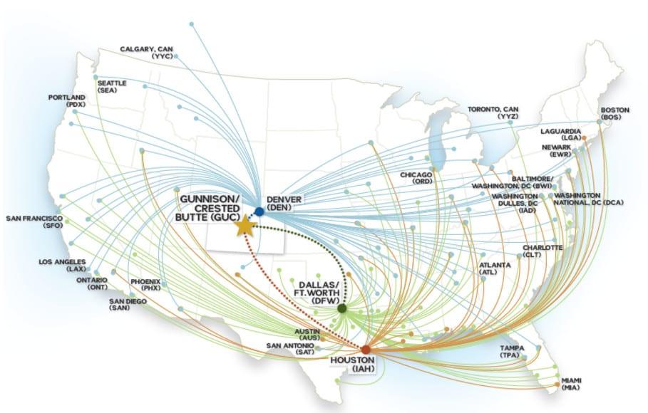 Gunnison-Crested Butte Regional Airport Flights Map