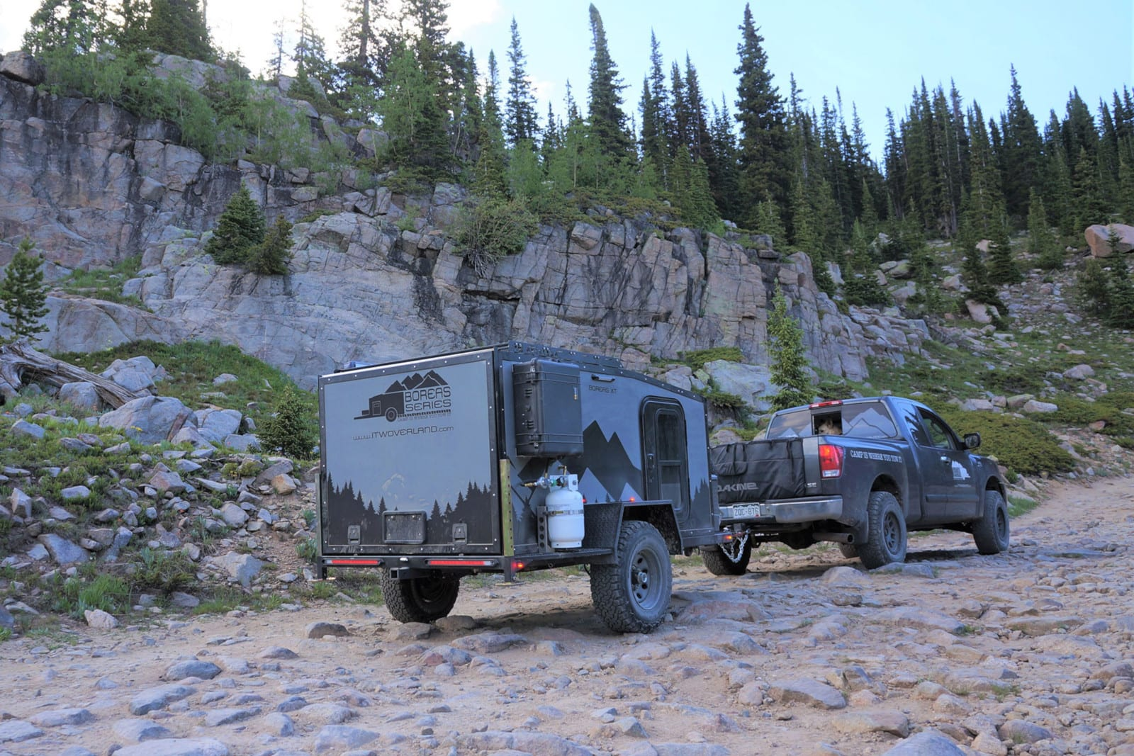 Into The Wild Overland Boreas XT Off Road Travel Trailer Pulled By Truck