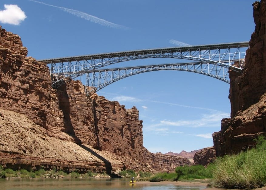 Kayaker Colorado River Marble Canyon Navajo Bridge