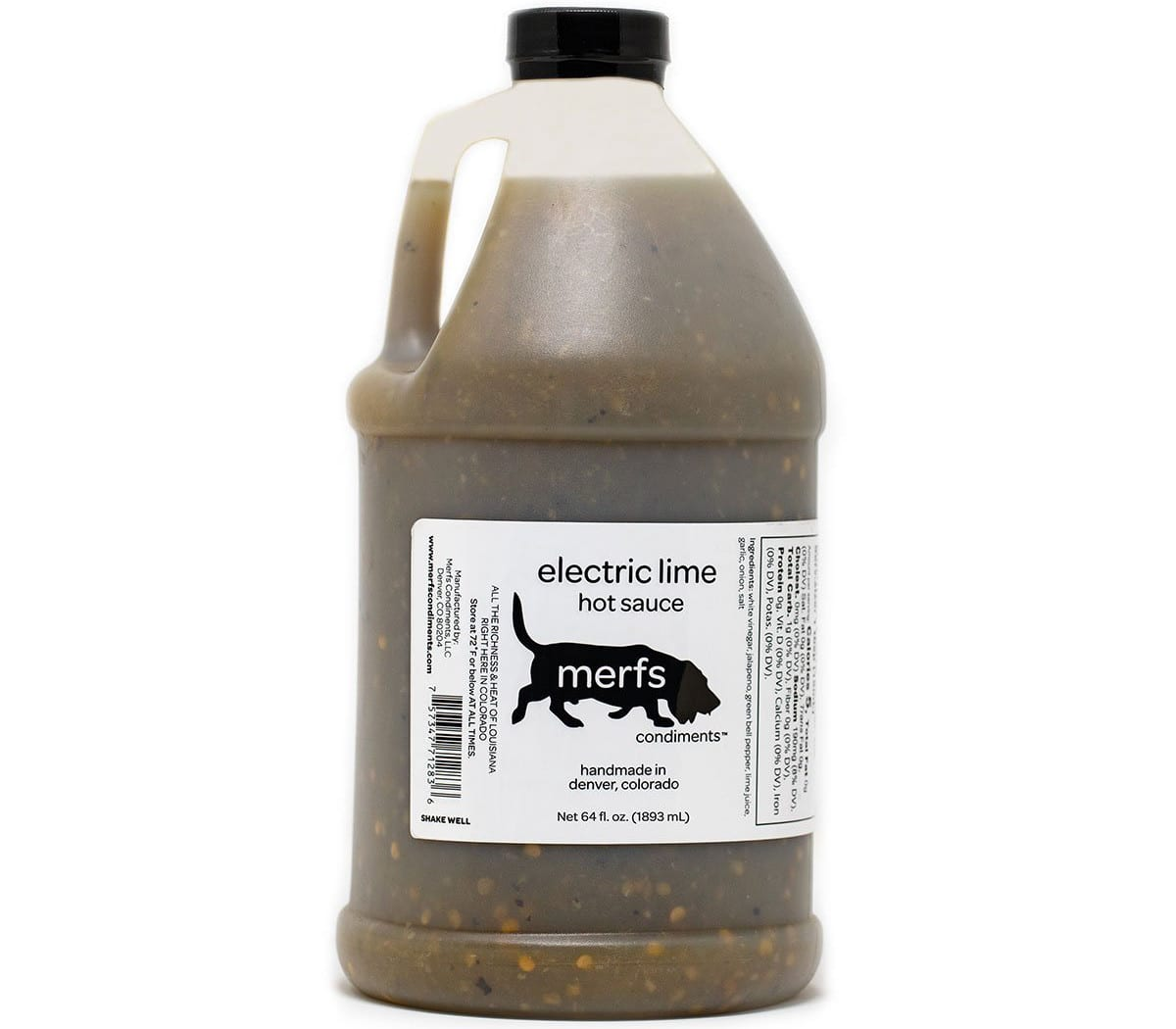 Merfs Condiments Electric Lime Hot Sauce Half Gallon