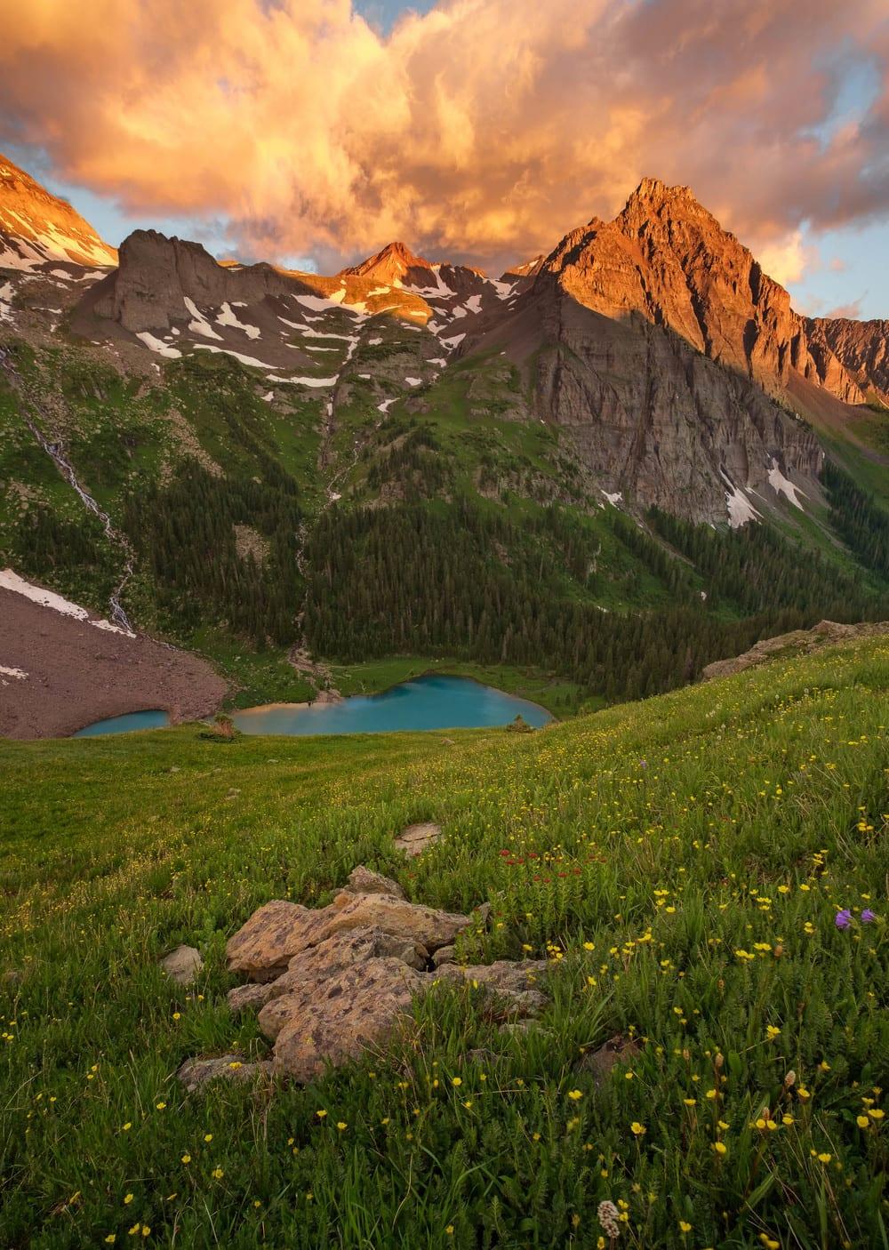 Mount Sneffels Wilderness Blue Lakes Sunrise