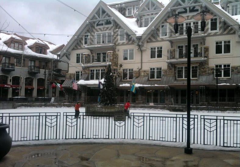 Mountain Village Colorado Ice Rink Reflection Plaza