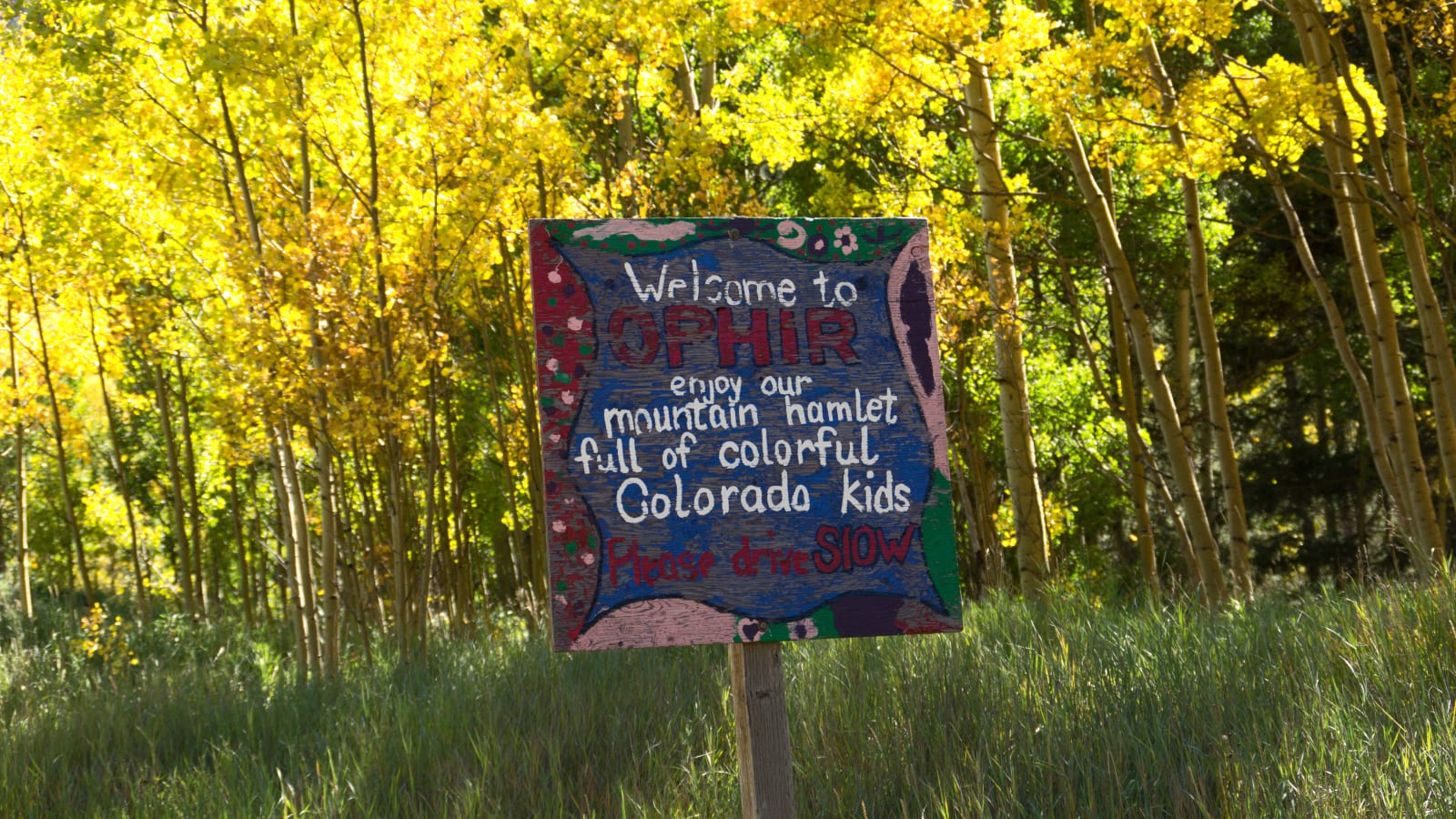 Ophir Colorado Welcome Sign Kids