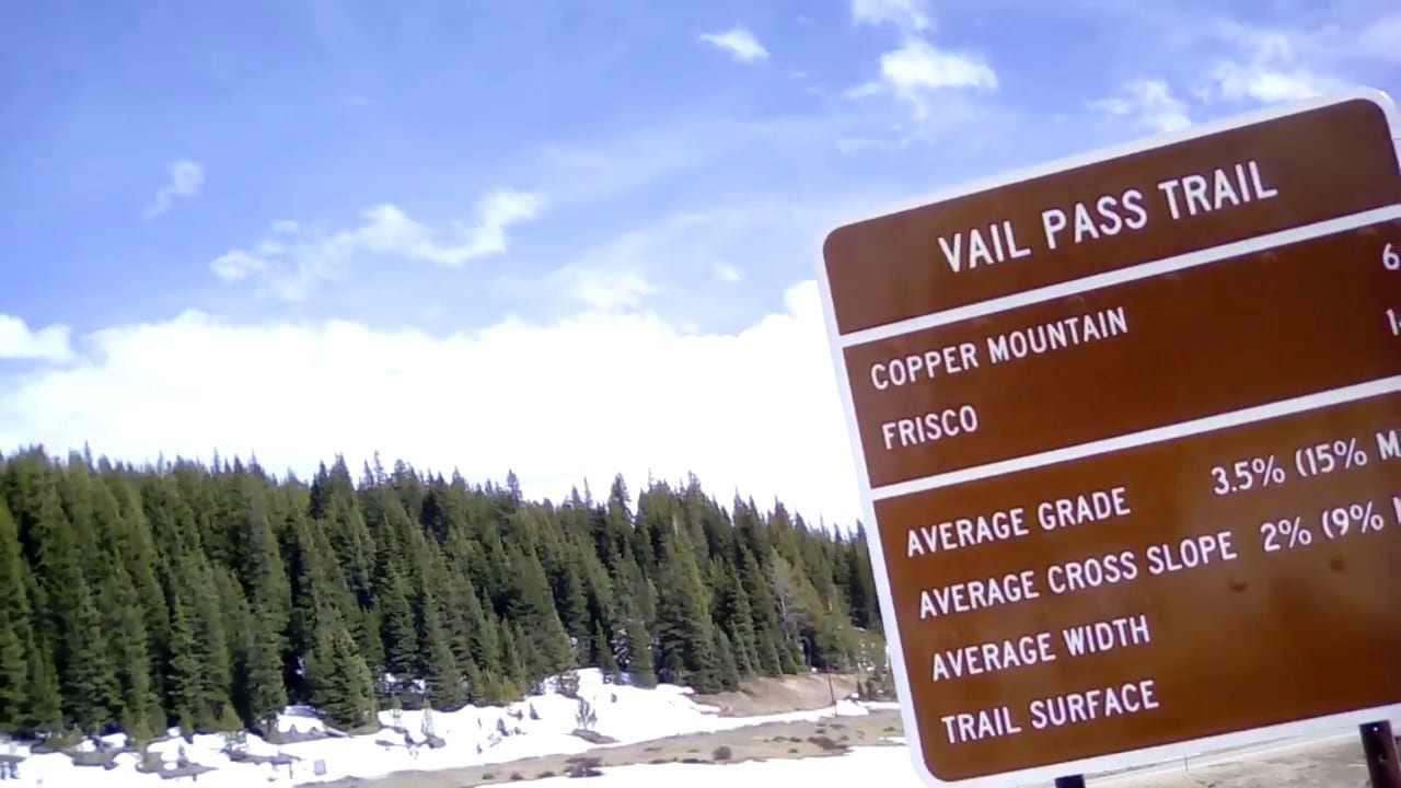 Vail Pass Trail Sign Milage Marker