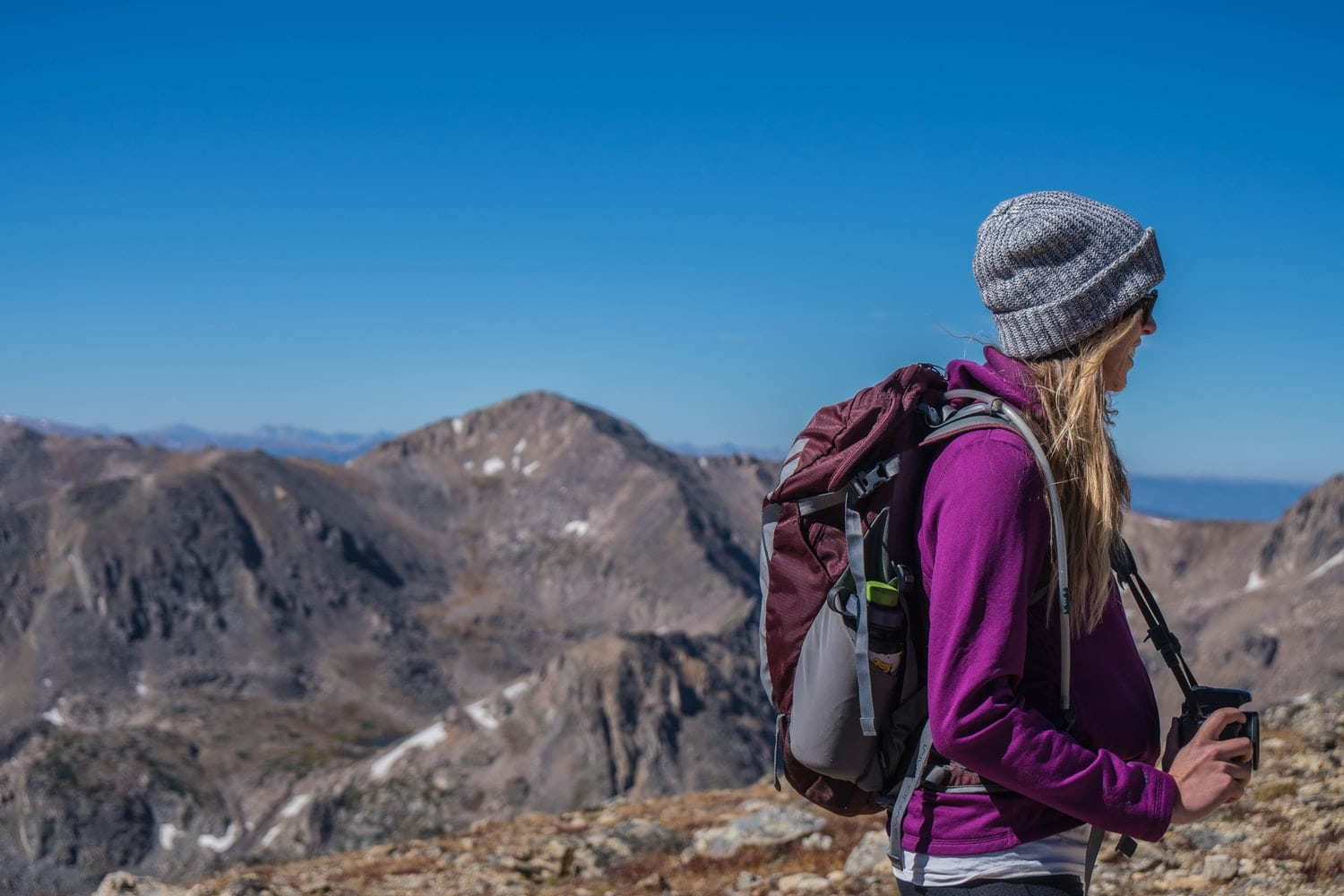 Woman Hiking with Backpack Gear