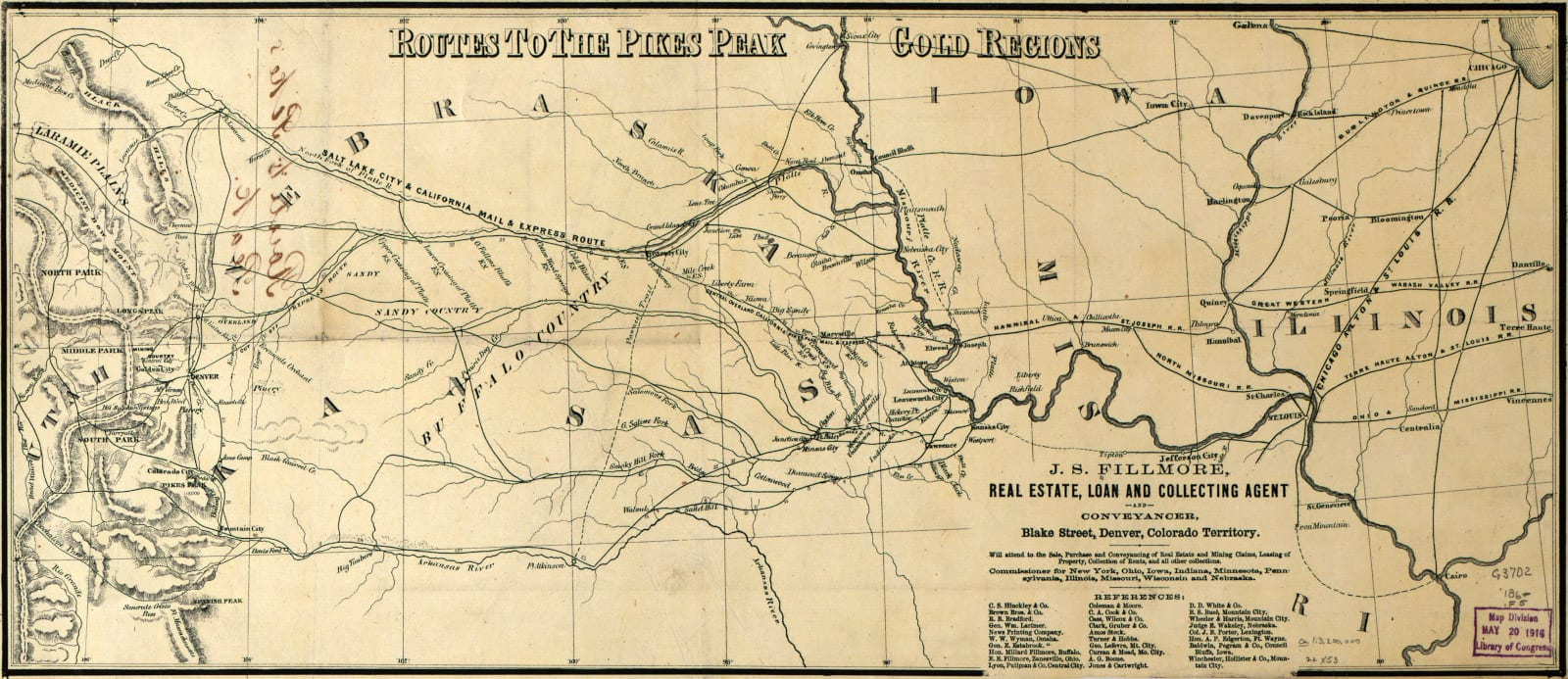 Colorado Mining History Gold Routes Map Lae 1850s