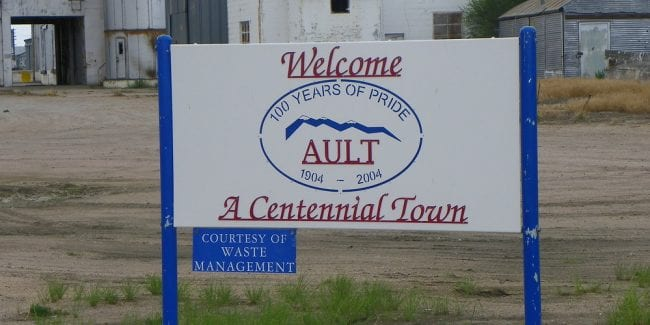 image of town sign in Ault, CO