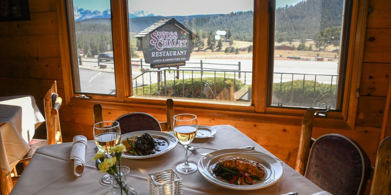 Best Restaurants in Woodland Park CO Swiss Chalet Dining Tablw