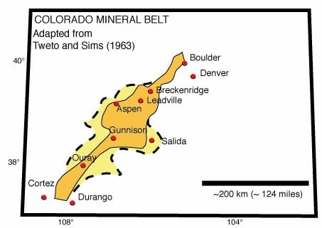 Colorado Mining History Mineral Belt Map