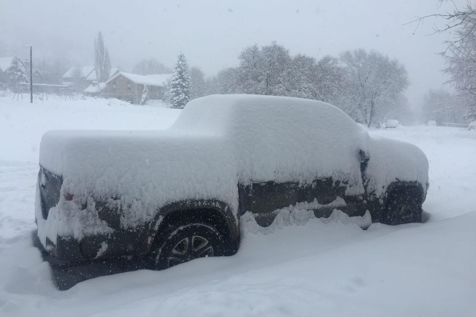 Mountain Living Durango Colorado Truck Covered In Snow Winter