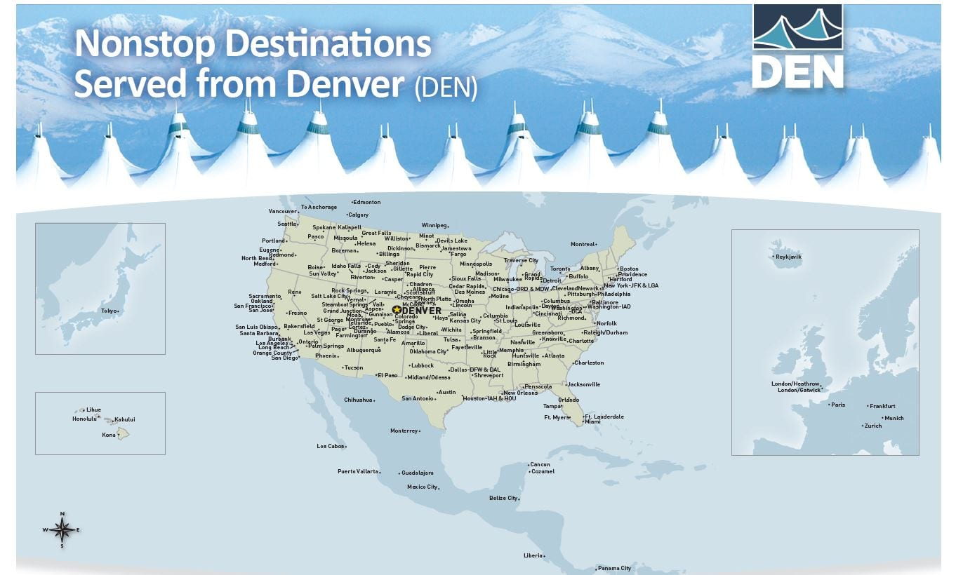 Denver International Airport Nonstop Flights Map