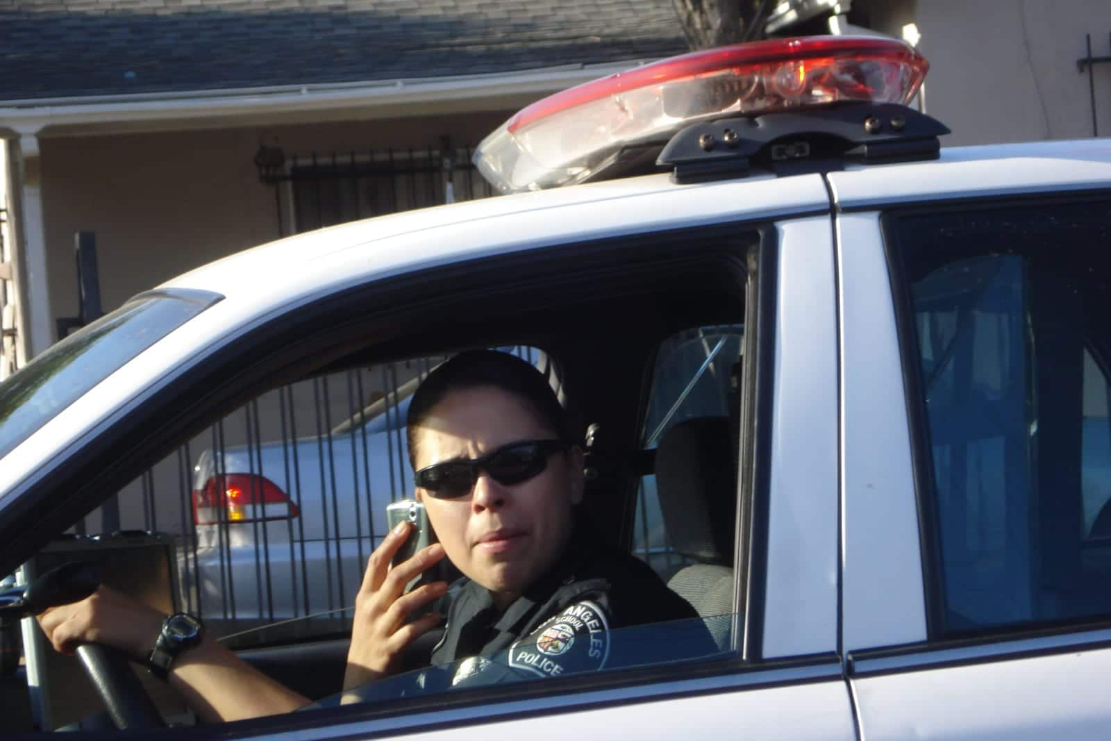 Distracted Driving Talking While Driving Law Police Car