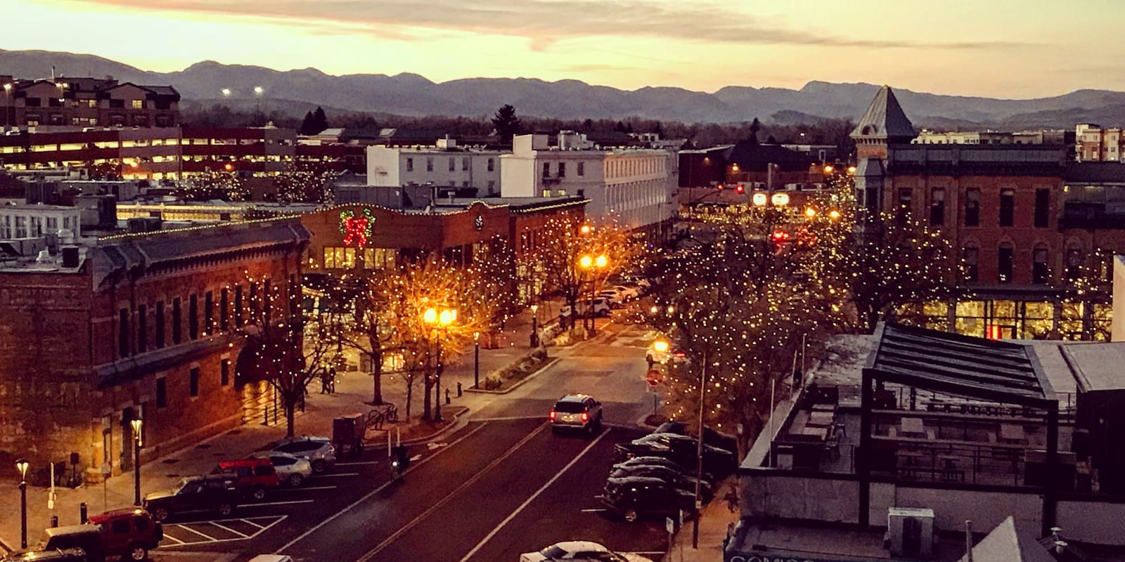 Old Town Downtown Fort Collins CO Sunset