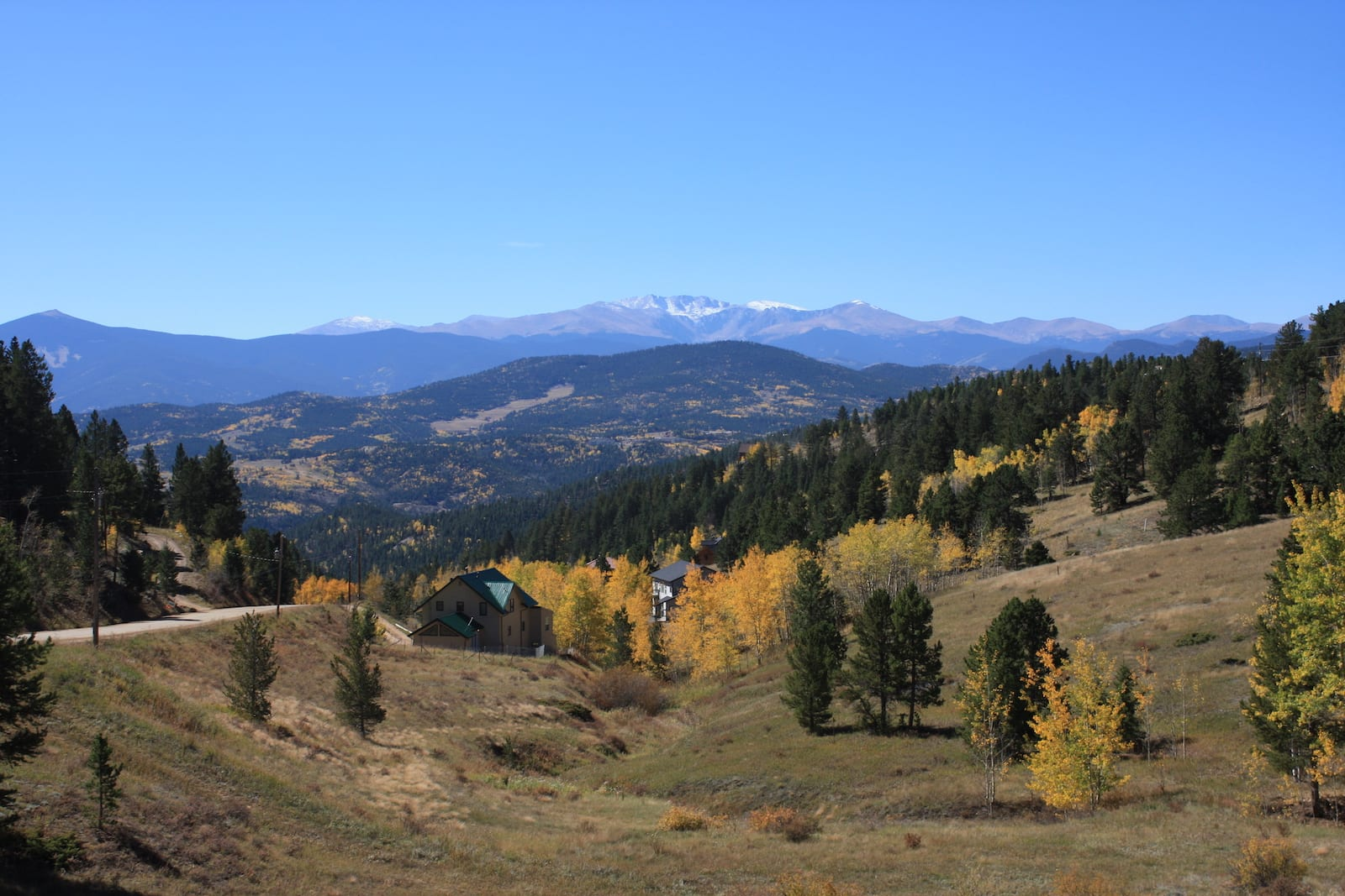 Fall Foliage on Chicago Peaks north of Black Hawk CO View of Mount Evans