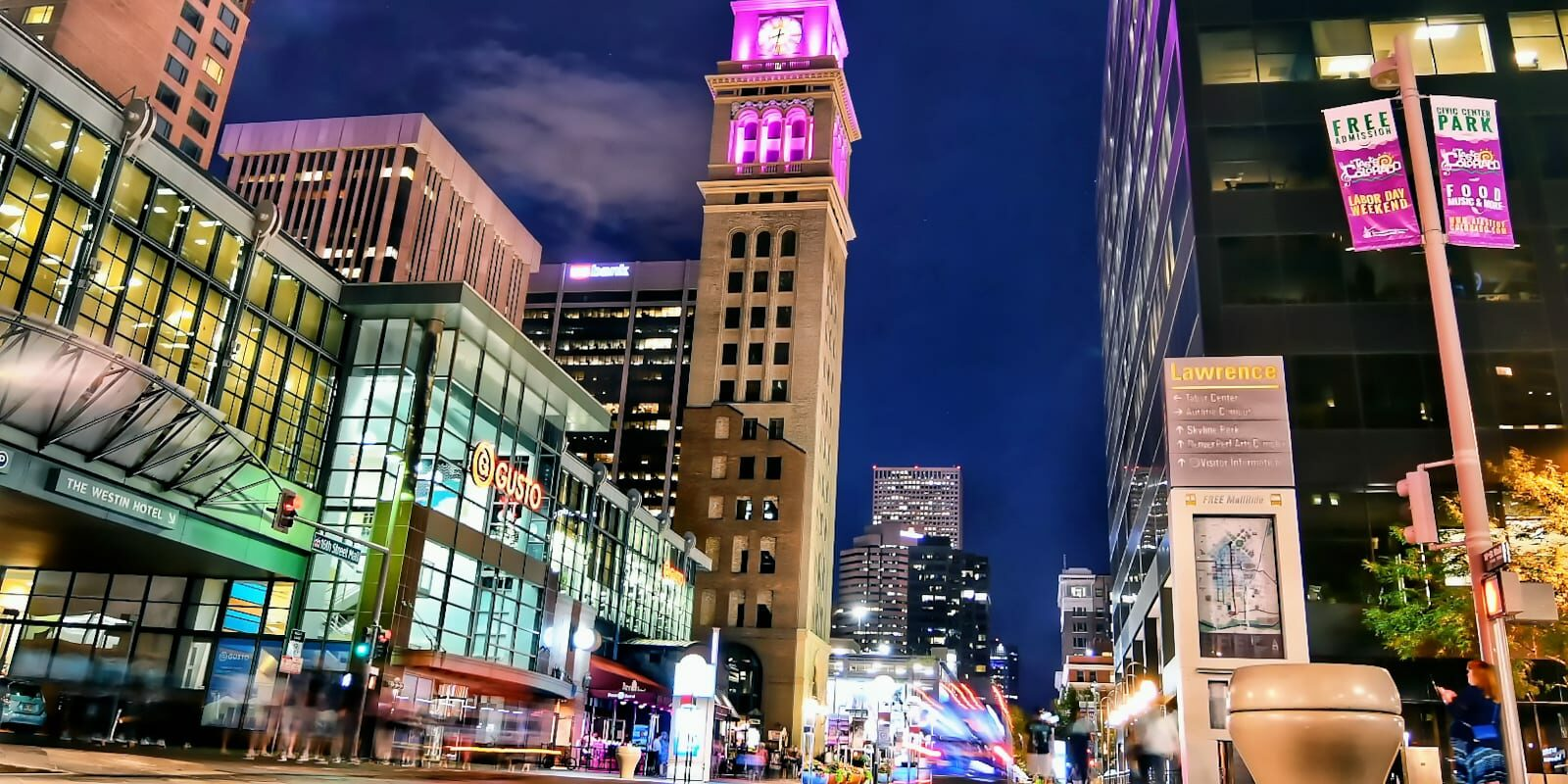 Downtown Denver Colorado Night Cityscape 16th Street Mall Clocktower
