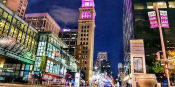 Downtown Denver Colorado Night Cityscape 16th Street Mall Clocktower