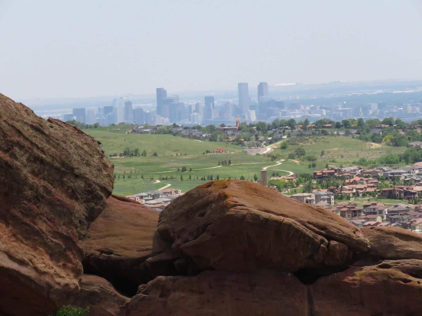 Denver Skyline View from Red Rocks Park CO