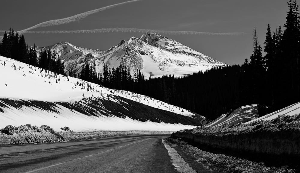 Bartlett Mountain and Clinton Peak, as seen from the northern approach to Fremont Pass.