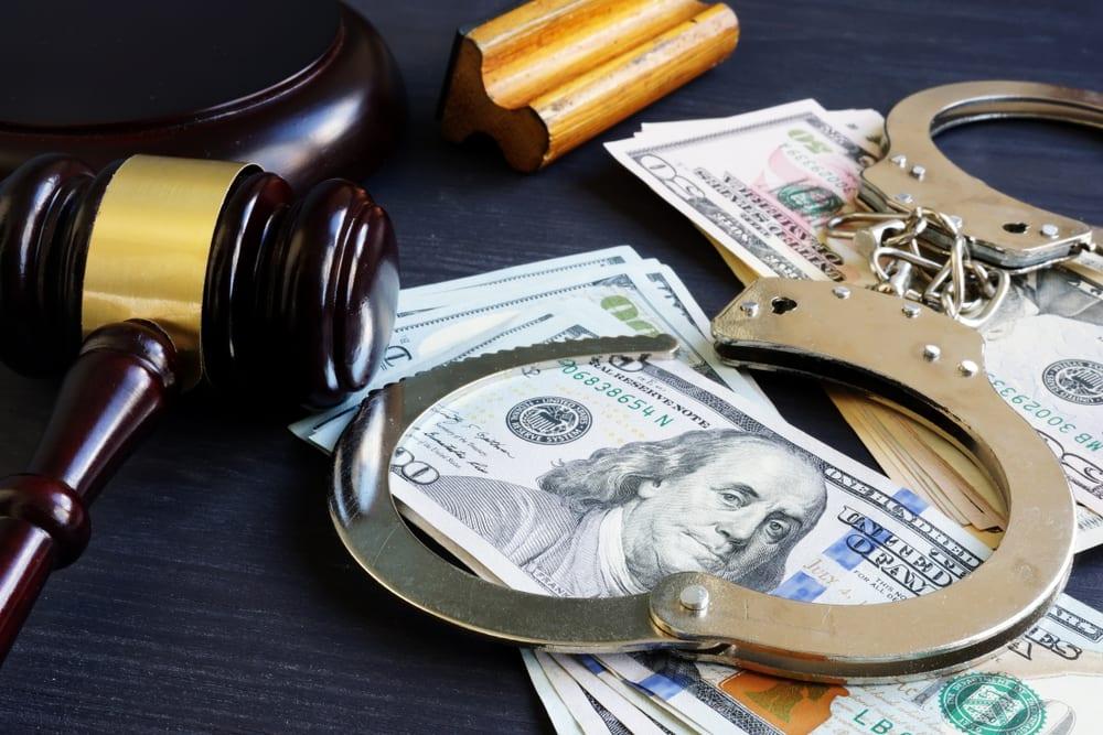 Bail Bonds Cash Gavel Handcuffs