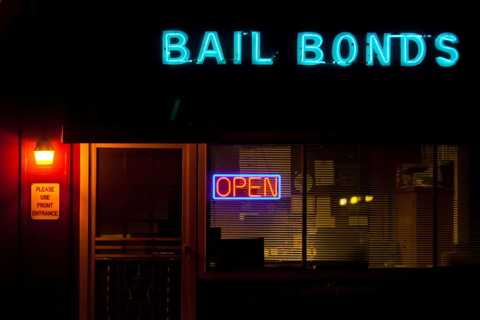 Bail Bonds Open Front Entrance Exterior