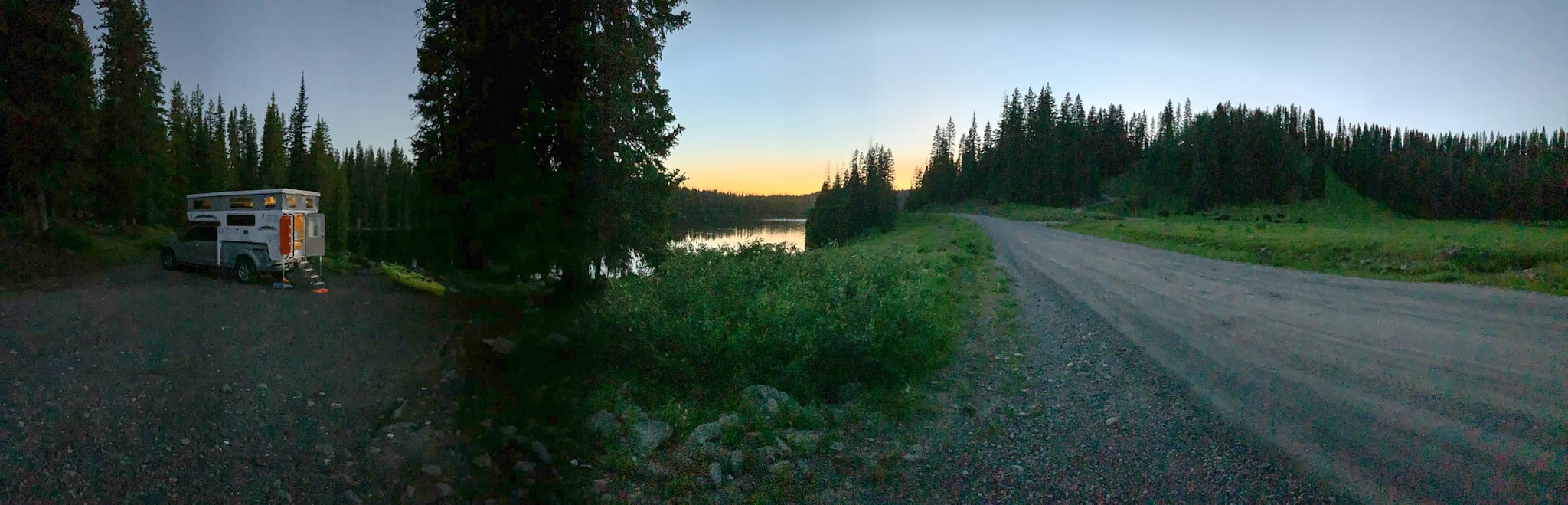 Dusk at Eggleston Lake Campground Grand Mesa National Forest Colorado
