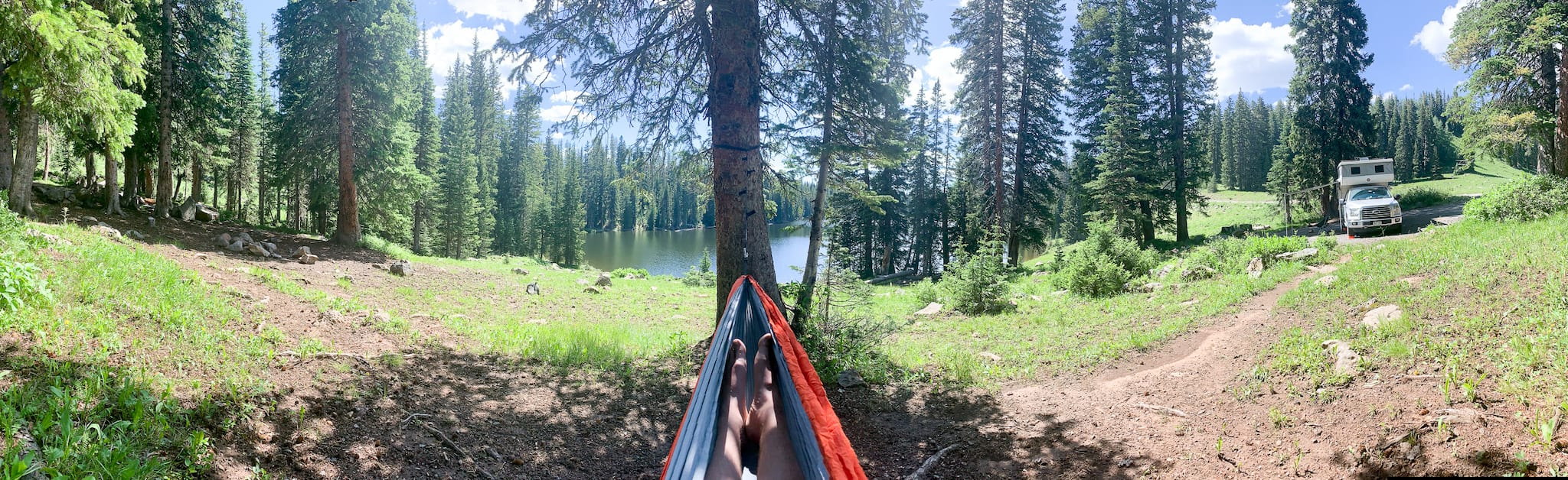 Lounging by Campsite at Eggleston Lake Grand Mesa National Forest Colorado