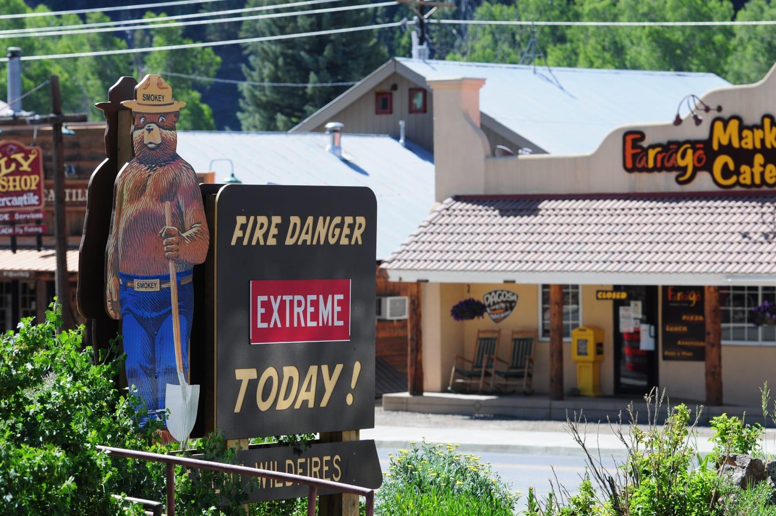 Colorado Fire Danger Sign Extreme Pagosa Springs