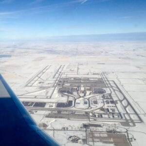 Denver Airport Aerial View from Airplane Winter