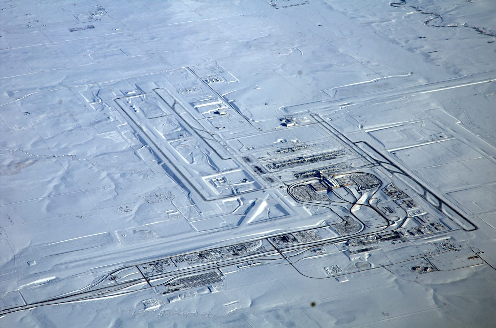 Denver International Airport Aerial View Winter Snow
