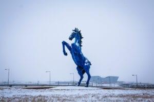 Blucifer Statue Denver International Airport Winter