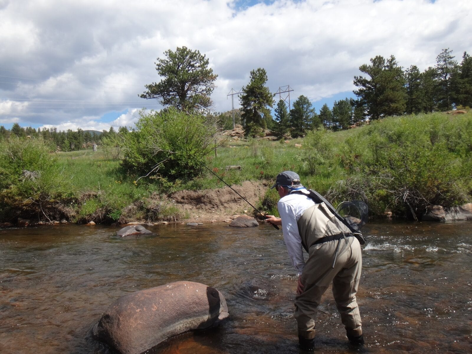 Fly Fishing for Trout in Shallow Stream Park County Colorado