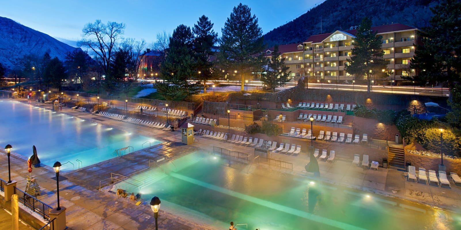 Glenwood Springs Hot Springs Pools Night Colorado