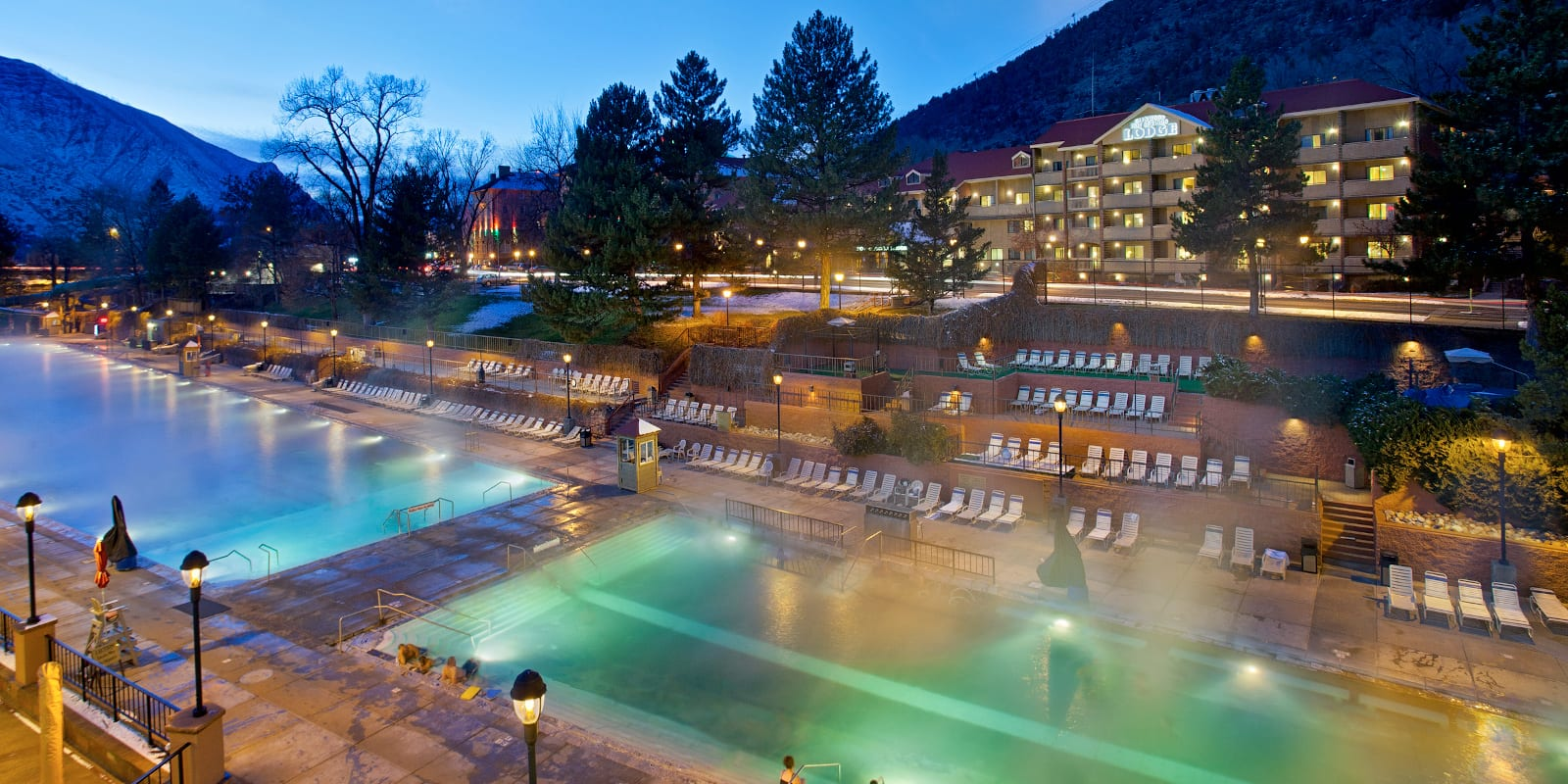 Glenwood Springs Hot Springs Pools Night Colorado