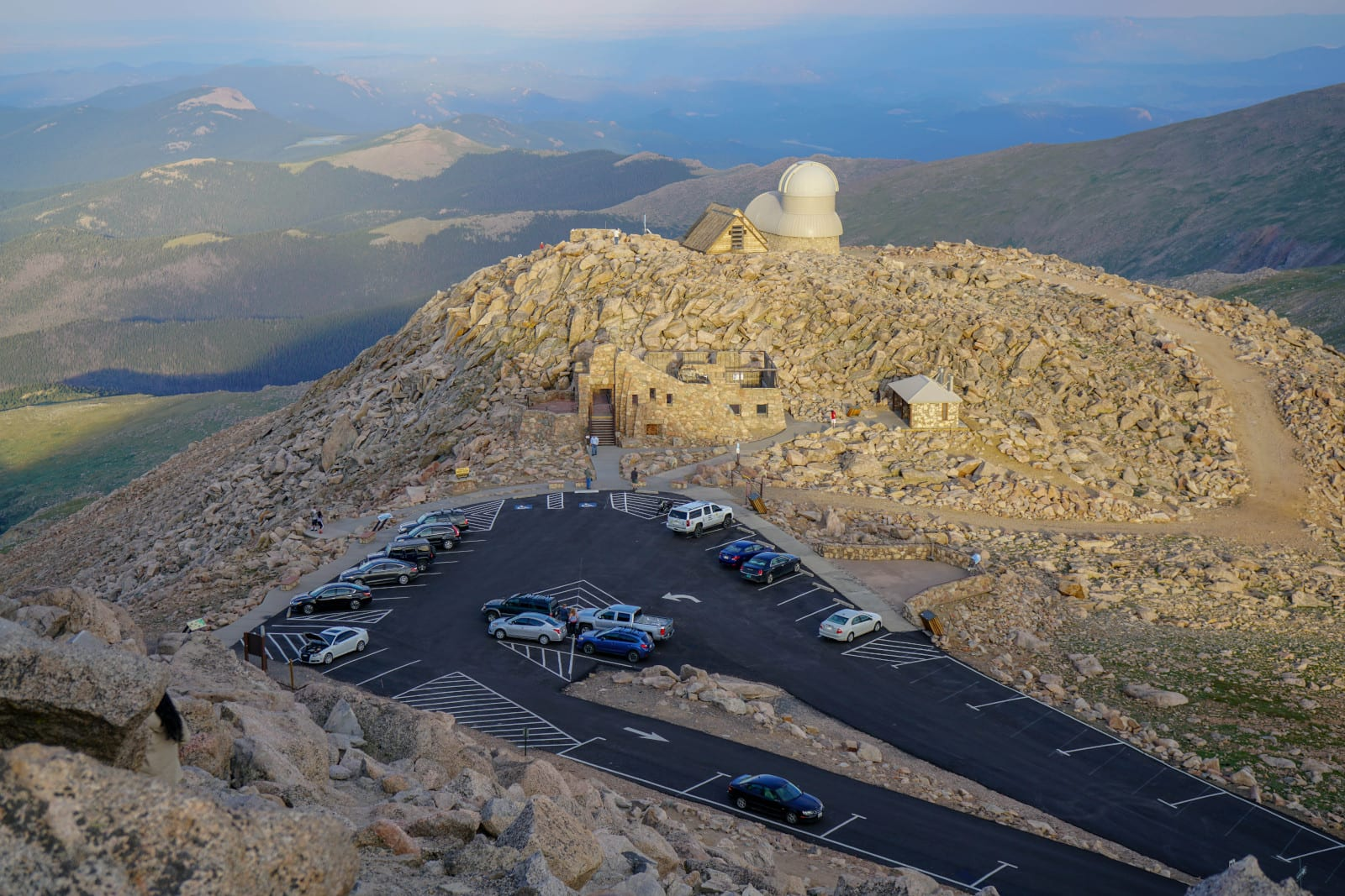 Highest Paved Road Colorado Mt Evans Byway Aerial View from Summit of Parking Lot