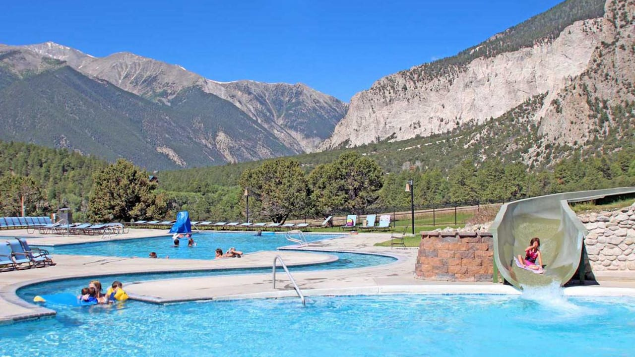 Mount Princeton Hot Springs Upper Swimming Pool Slide Nathrop Colorado