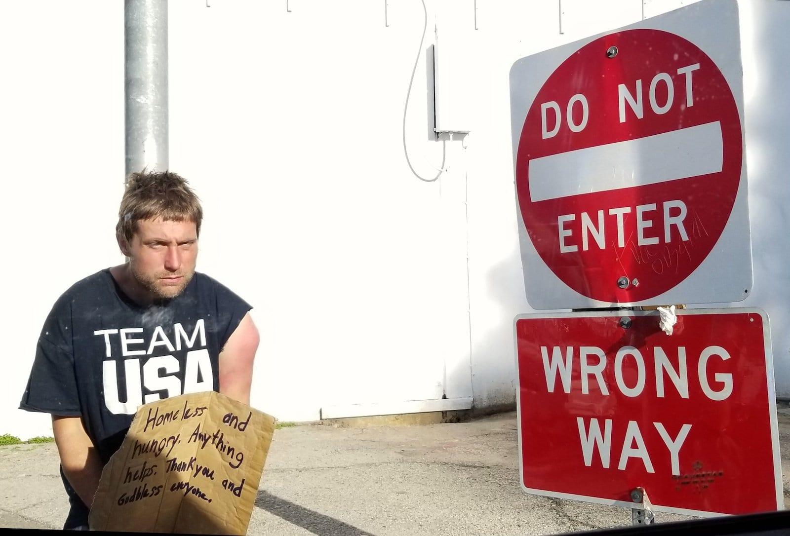 Opioid Abuse Crisis Homeless Man Dog Not Enter Sign