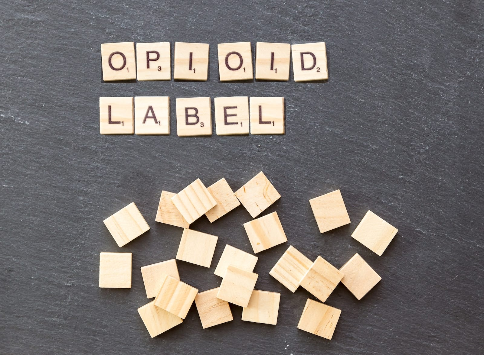 Opioid Label FDA Scrabble Pieces