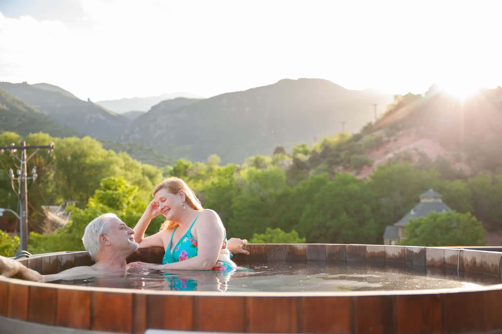 SunWater Spa Hot Springs Pool Manitou Springs Colorado Couple Soaking