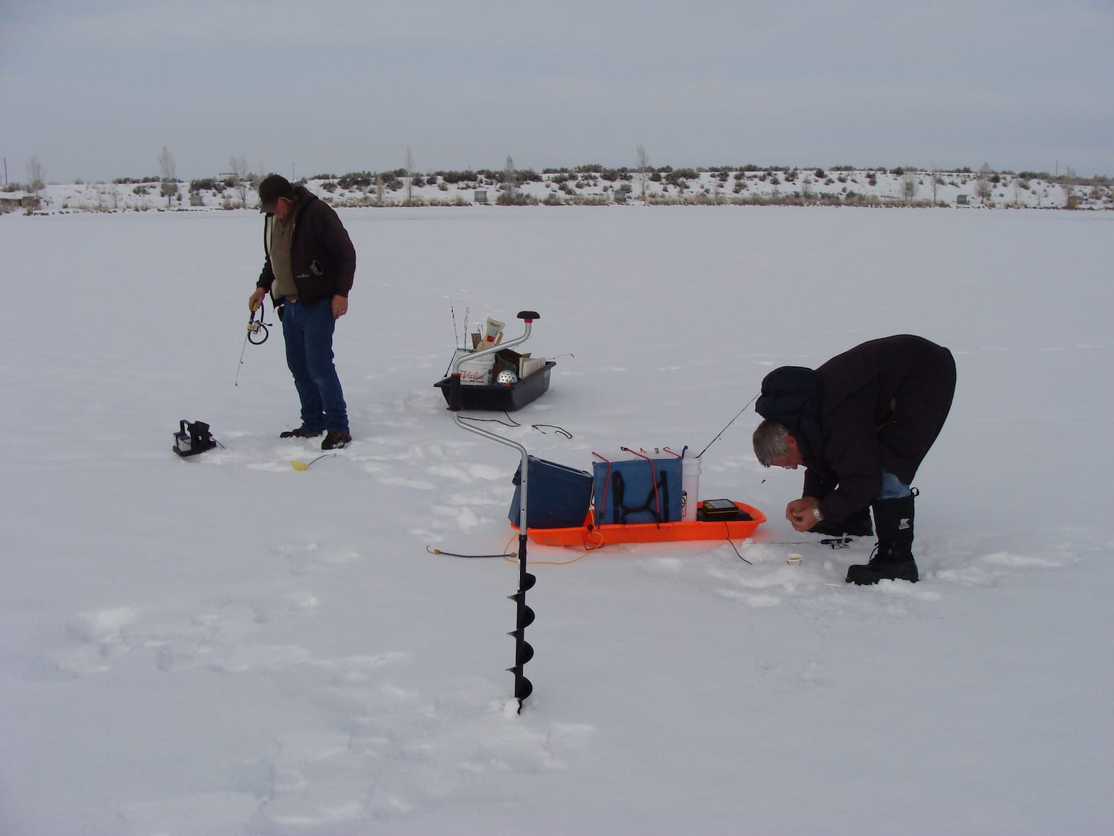 Ice Fishing at Highline Lake State Park , CO