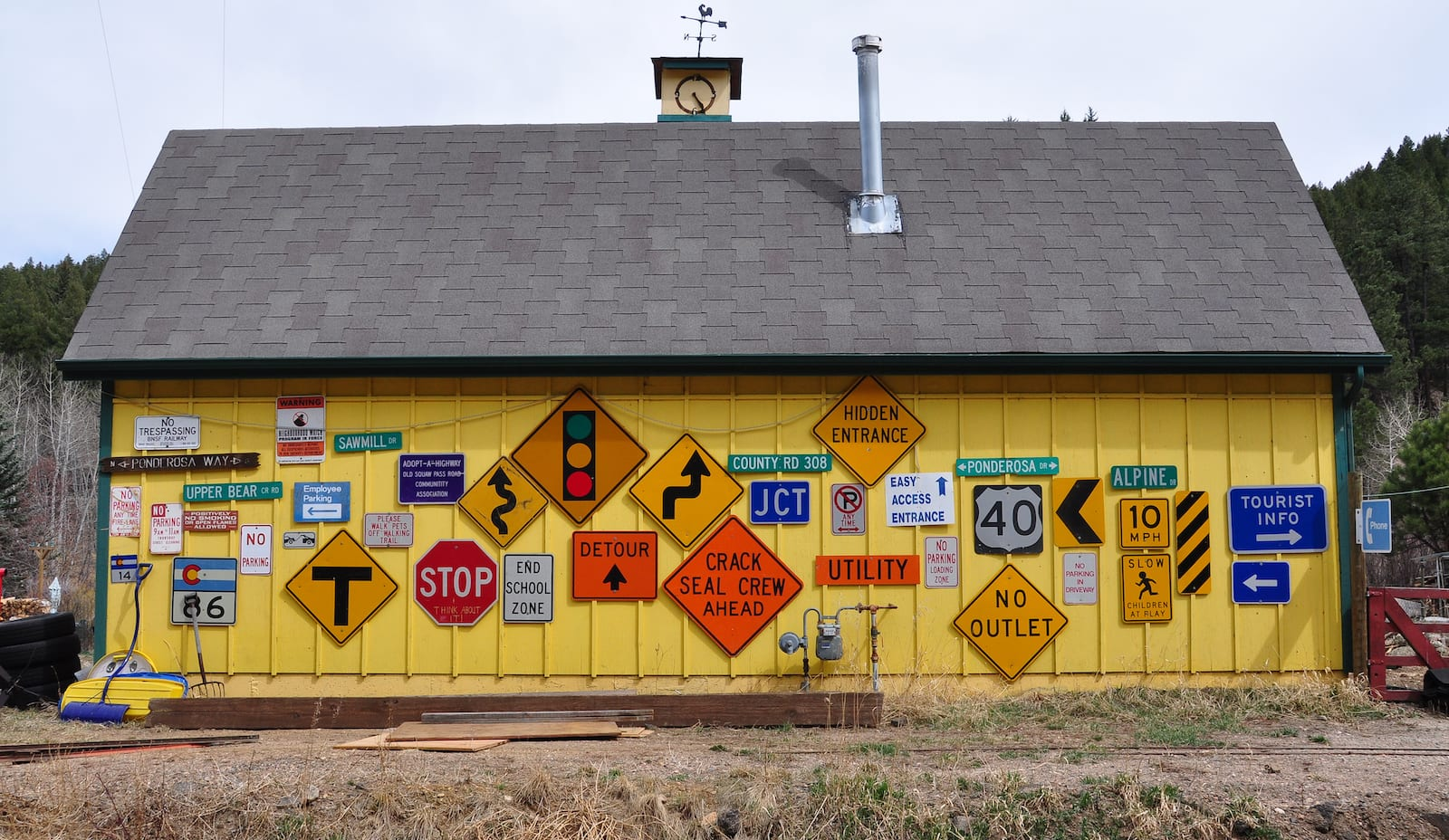 Road Sign Barn at Evergreen, Colorado