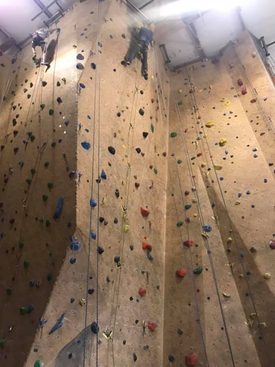 image of person on climbing wall
