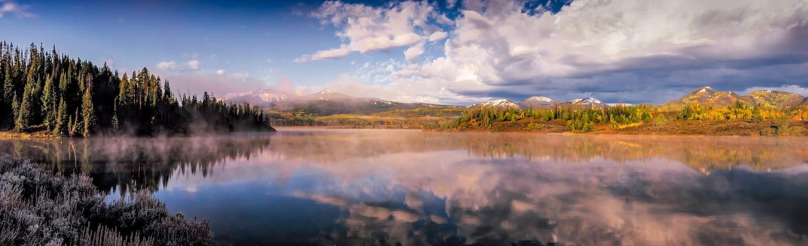 Buffalo Pass Lake Morning Fog Steamboat Springs CO