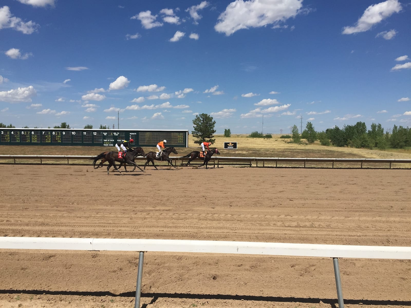 Horse Racing Arapahoe Park Racetrack Aurora CO Crossing Finish Line